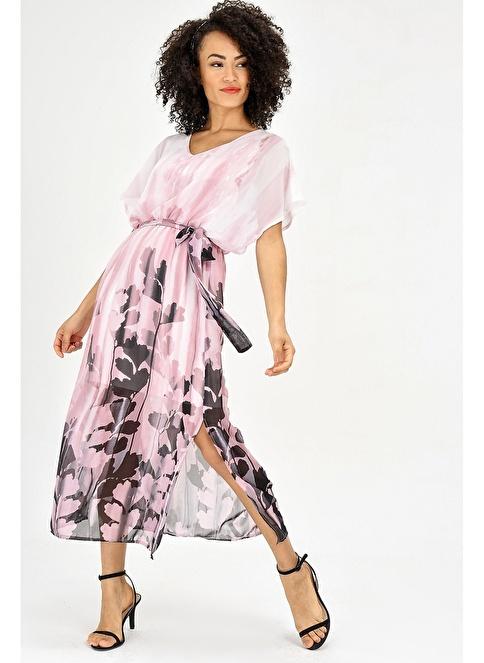 4143587fc534e Jument Kadın Şifon V Yaka Yarasa Salaş Beli Lastikli Elbise Pembe Ç.  İndirimli Fiyat   Morhipo   24131010
